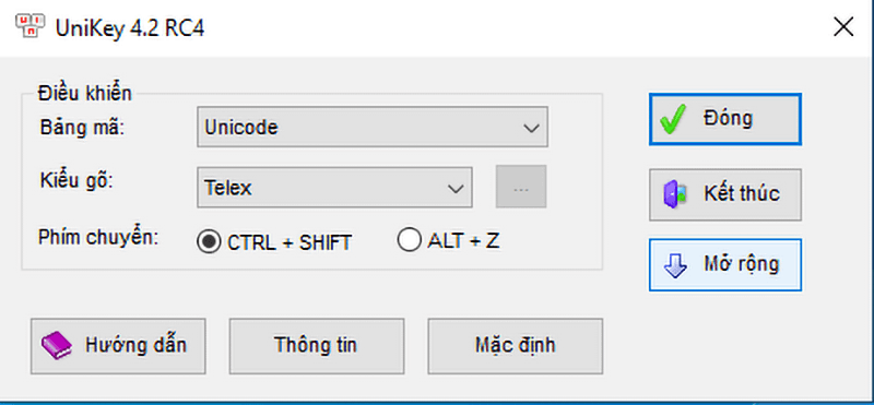 chọn Bảng mã: Unicode